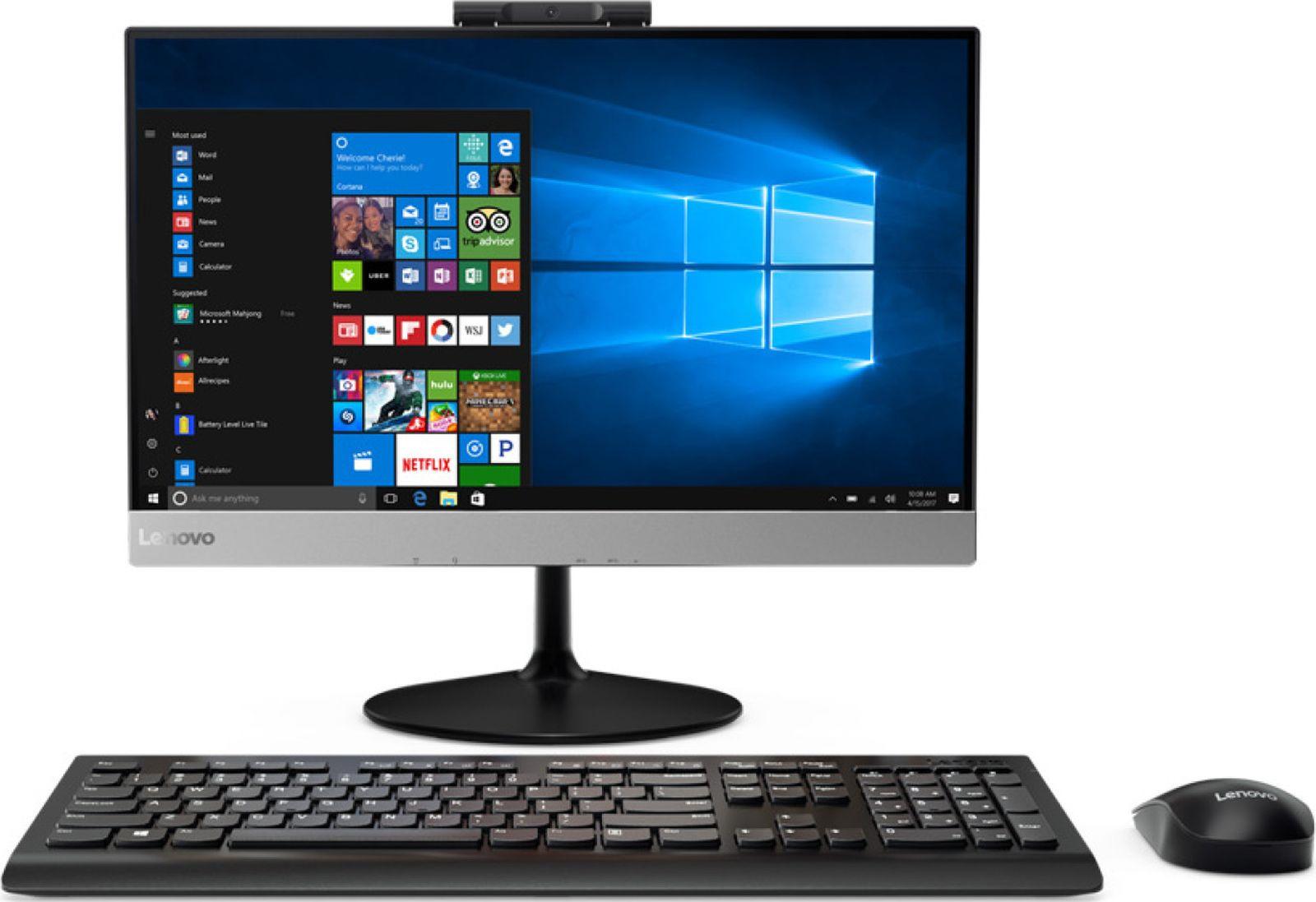 Моноблок Lenovo V410z, 10QV001FRU, 21.5, черный моноблок lenovo v410z 21 5 full hd i3 7100t 3 4 4gb 500gb 7 2k hdg630 dvdrw cr noos gbiteth wifi bt клавиатура мышь cam белый 1920x1080