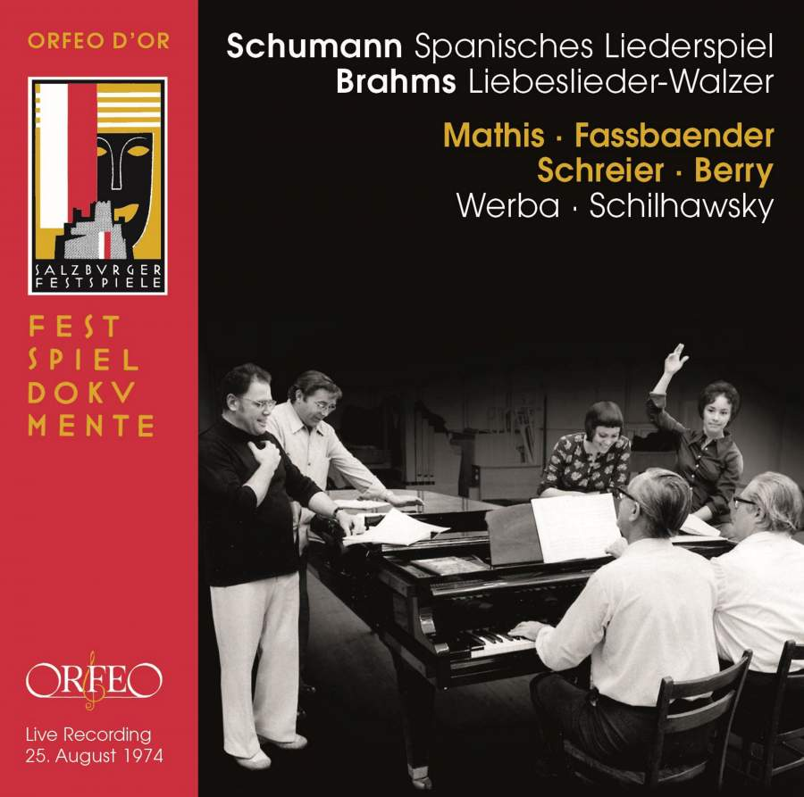 Edith Mathis, Brigitte Fassbaender, Peter Schreier, Walter Berry; Paul Schilhawsky, Erik Werba. Schumann: Spanisches Liederspiel (Salzburger Festspiele, 25. August 1974) (1CD)