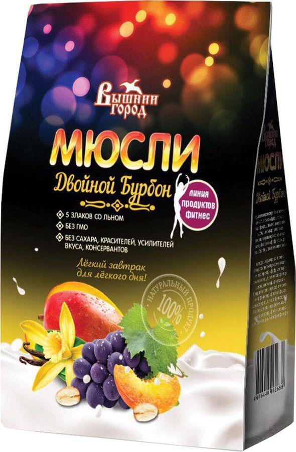 Мюсли Вышний город Двойной бурбон 5 злаков со льном, с натуральной ванилью, 300 г мюсли вышний город фруктовые 5 злаков со льном 350 г