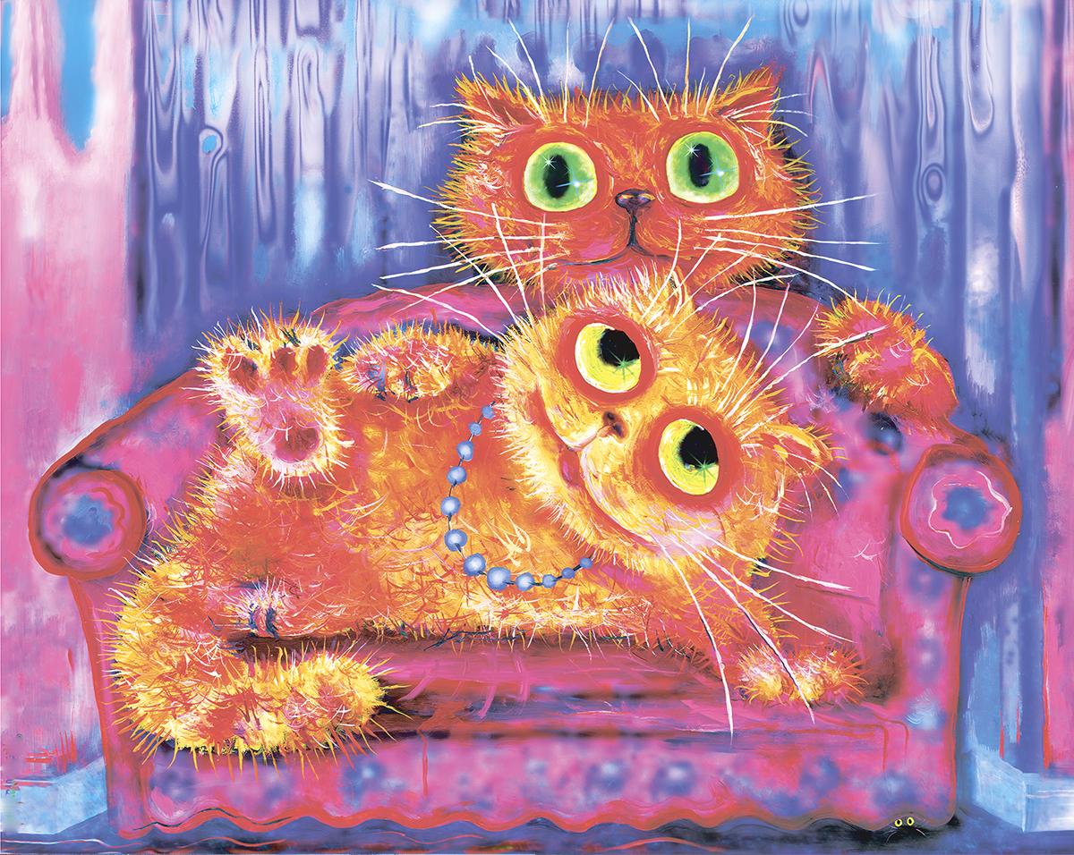 Красивые смешные картинки с котами рисованные, рите днем рождения