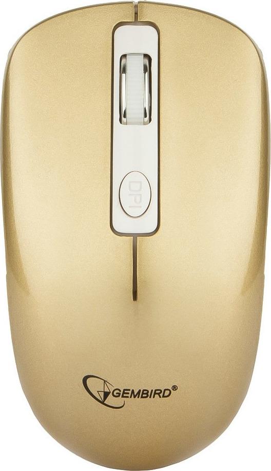 Мышь Gembird MUSW-400-G, беспроводная, 4 кнопки, золотой мышь беспров gembird musw 400 g бело золотой бесшумный клик 3кн колесо кнопка 2 4ггц 1600 dpi блистер