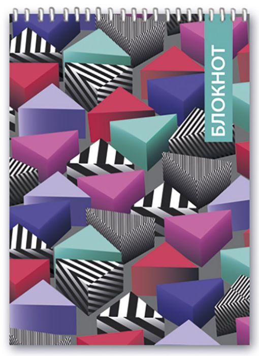 Блокнот Феникс+ Цветные треугольники, клетка, 46033/5, 80 листов w бизнес блокнот 80л а4ф 80 гр кв м клетка тв переплет fine line бирюза
