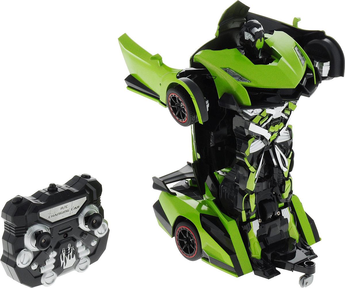 Робот-трансформер 1TOY Спортивная машина, Т10856, салатовый робот трансформер 1toy робот машина бетономешалка на радиоуправлении т11022