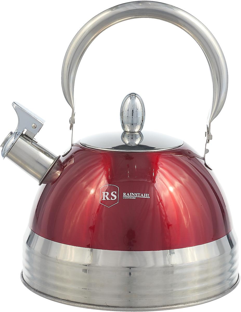 Чайник Rainstahl со свистком, 7600-27RS\WK, красный, 2.7 л чайник rainstahl со свистком цвет белый 2 7 л 7642 27rs wk