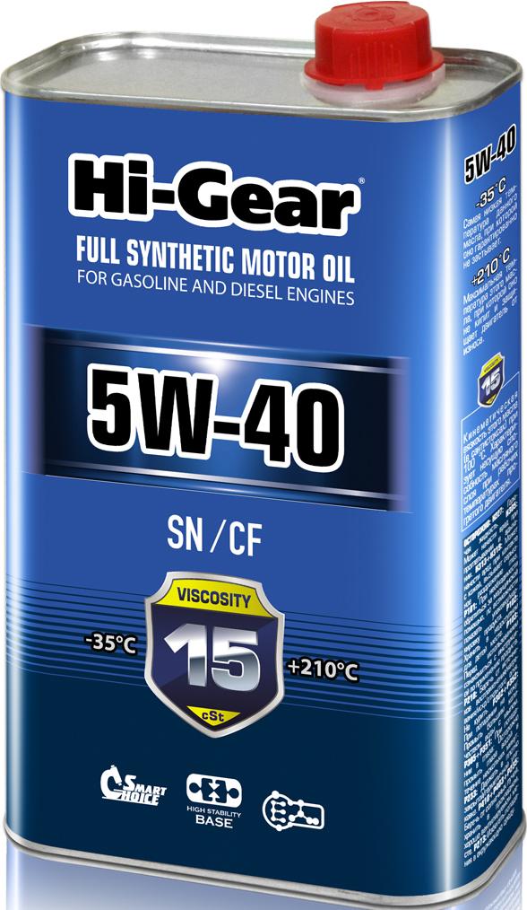 Моторное масло Hi-Gear, синтетическое, 5W-40, HG0540, 1 л
