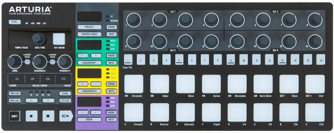 Arturia BeatStep Pro Black Edition, Black MIDI-клавиатура midi контроллер alesis samplepad pro