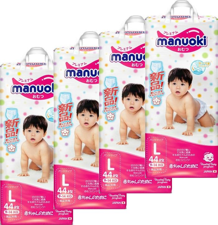 Подгузники-трусики Manuoki, 9-14 кг, размер L, 4 х 44 шт