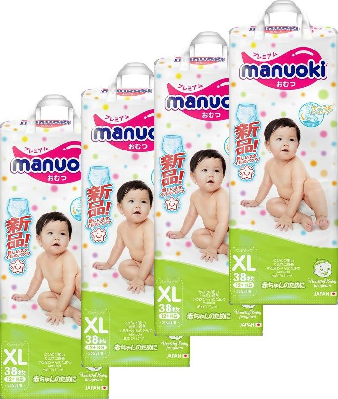 Подгузники-трусики Manuoki, 12+ кг, размер XL, 4 х 38 шт