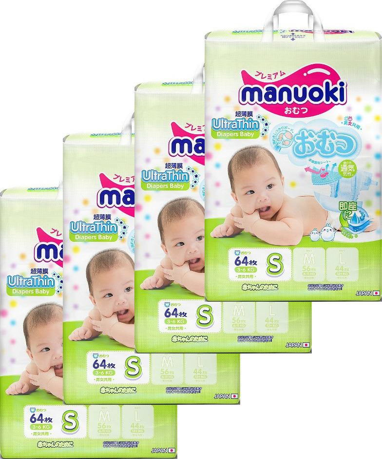 Подгузники Manuoki, 14560387209046, размер S, 4 х 64 шт