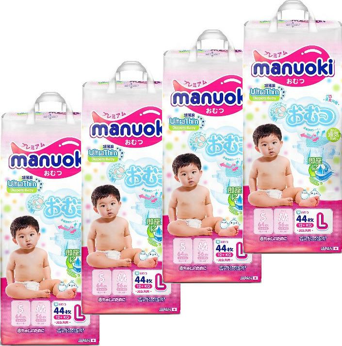 Подгузники Manuoki, 12+ кг, размер L, 4 х 44 шт