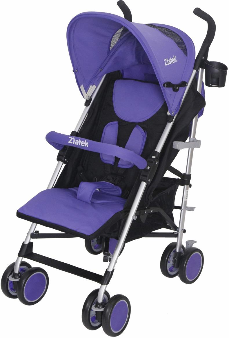 Zlatek Коляска прогулочная Travel цвет фиолетовый корзина алюминиевая 1200x800