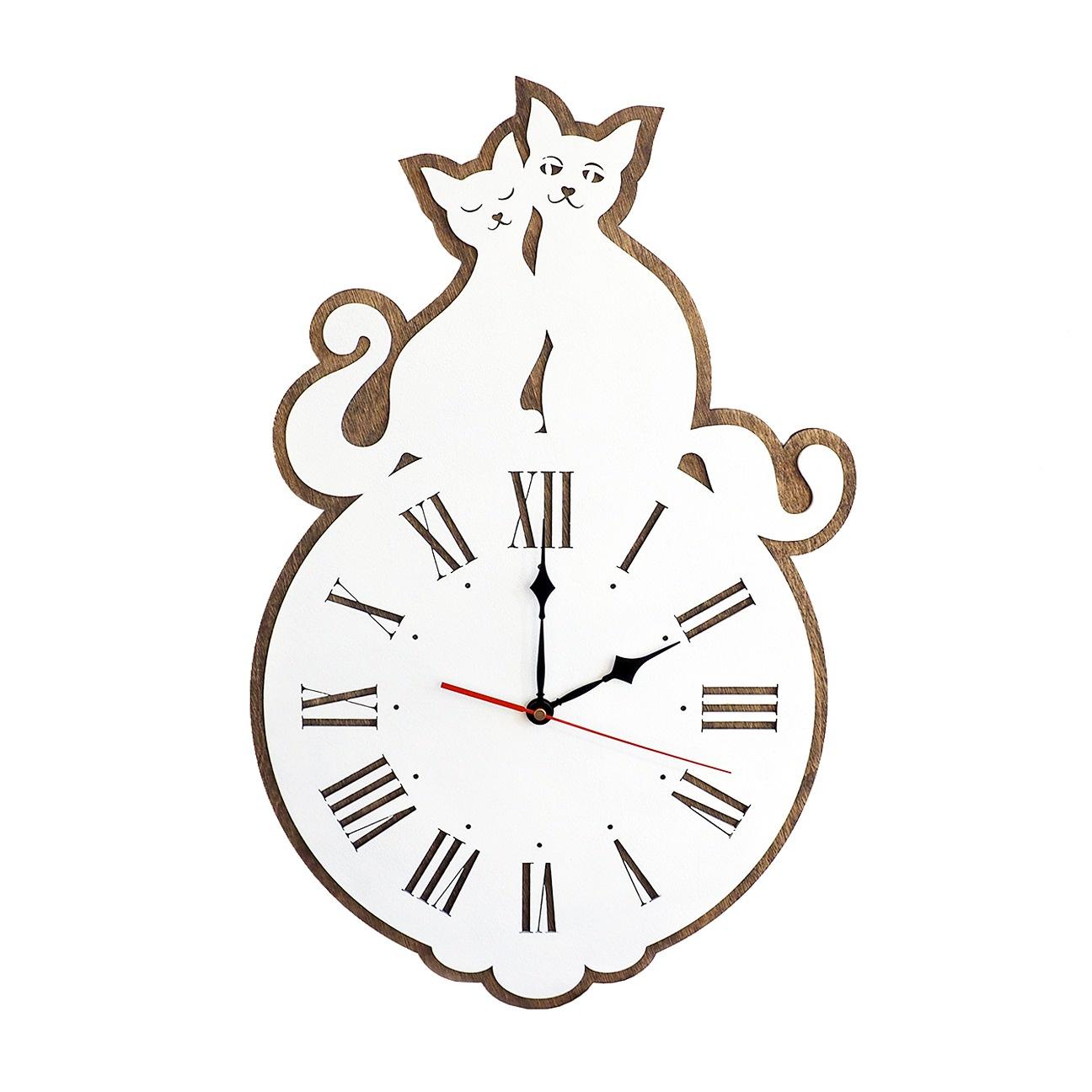 Настенные часы Roomton 50см, с котами, 021/50/WT, белый