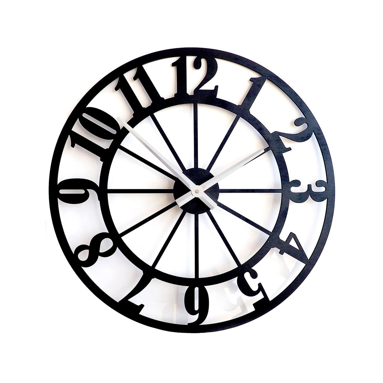 Настенные часы Roomton в стиле Лофт, черный, 50 см, классические