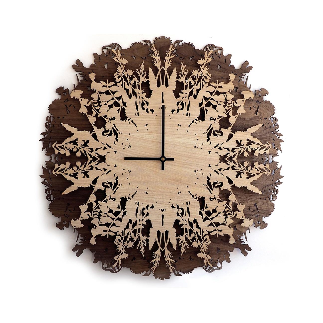 Настенные часы Roomton Ботаника, большие из натурального дерева, шпон ореха и дуба