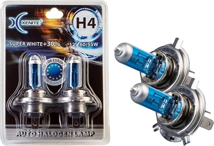 Автолампа Xenite H4 Super White P43t, 12V, 1007045, 2 шт 2 x h4 9003 p43t extreme platinum 6000k 55w super white hod halogen lamps crystalvision ultra upgrade headlight bulbs