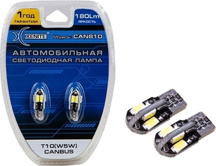 Автолампа Xenite CAN 810, светодиодная, 12V, Т10, W5W, 1009414, 2 шт автолампа xenite cob t10 4000k светодиодная 9 15v т10 w5w 1009439 2 шт