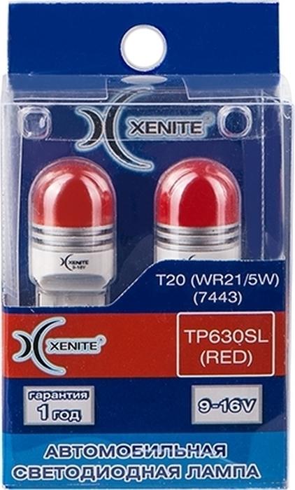 Автолампа Xenite TP630SL RED, светодиодная, 9-16V, T20, WR21W, 1009529, 2 шт автолампа xenite tp 137drl светодиодная 12v t20 w21 5w 1009540 2 шт