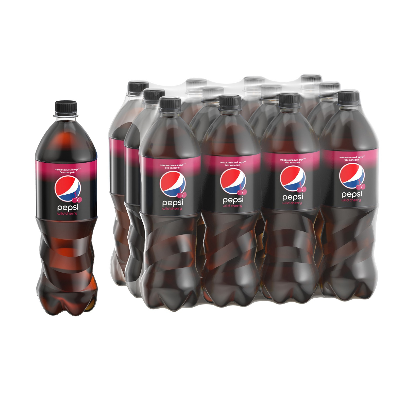 """Газированный напиток Pepsi """"Вайлд черри"""", 12 шт по 1 л"""