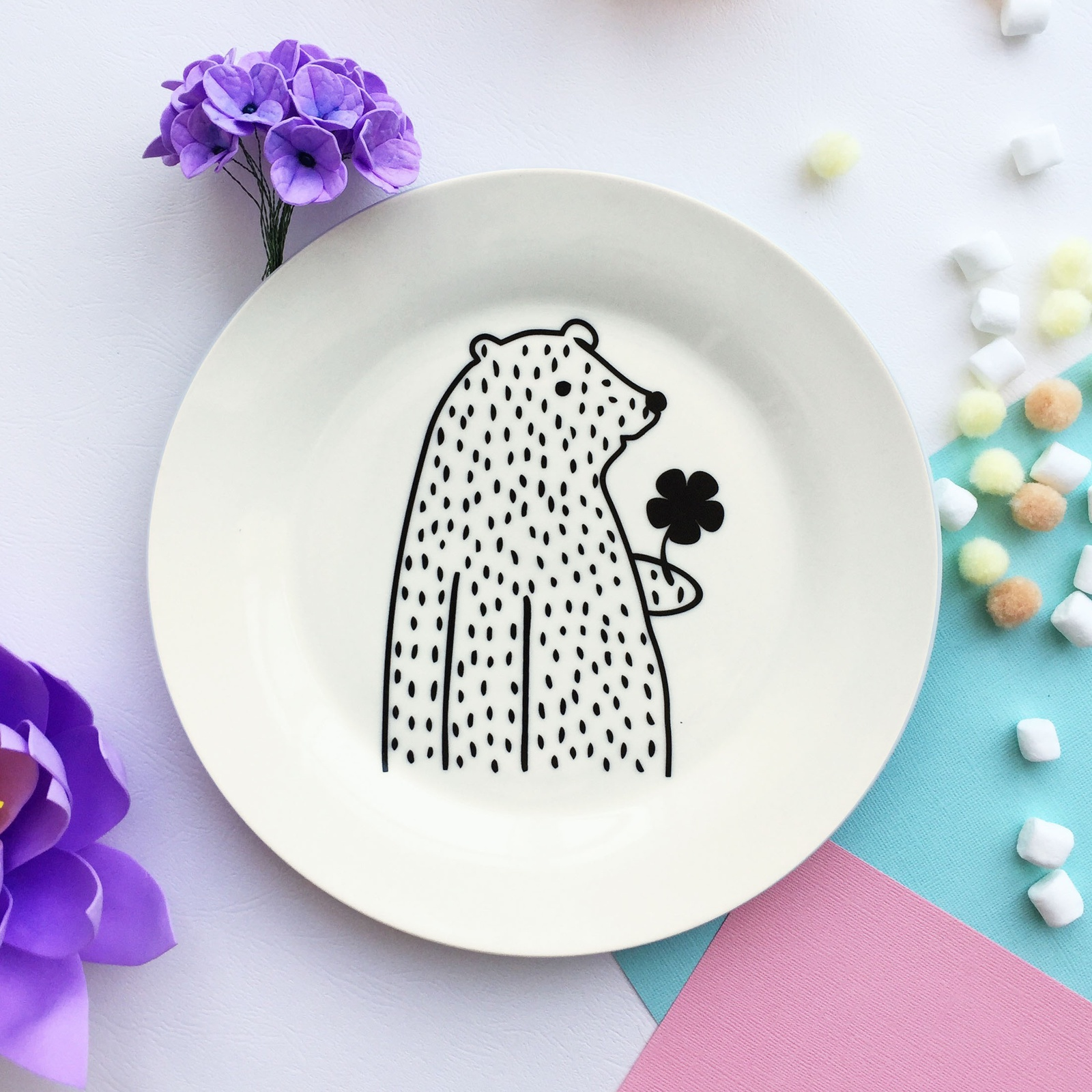 Тарелка Сотвори Чудо Цветочный мишка 20 см, белый тарелка мелкая сотвори чудо цветочный мишка диаметр 20 см