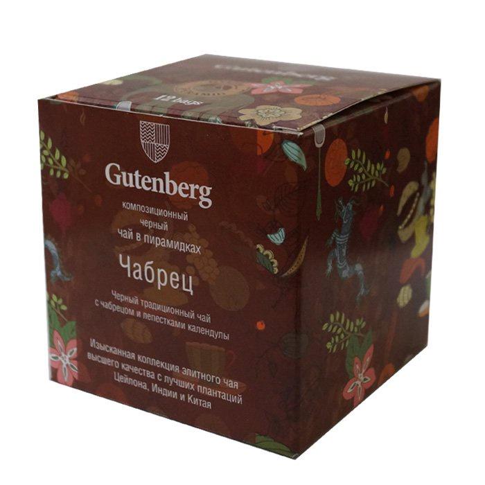 все цены на Чай в пирамидках Gutenberg черный с чабрецом(12 шт.), Чабрец, Календула, 60 онлайн