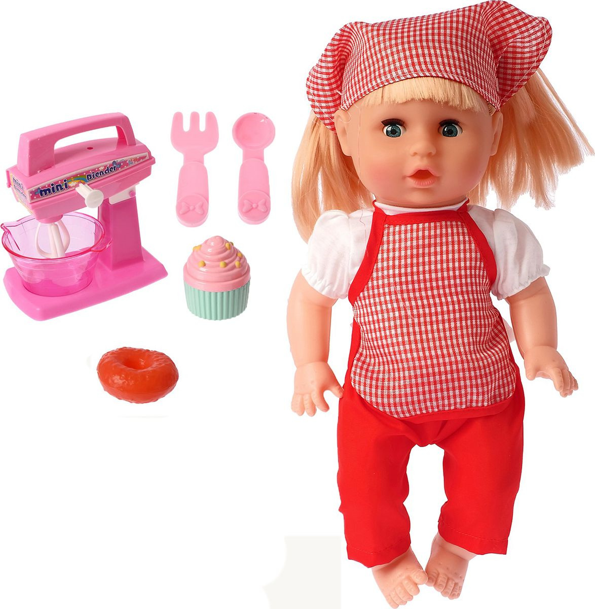 Пупс Кира, 26794492679449Удивительно реалистичная и красивая игрушка очень обрадует малыша. С такой симпатичной крохой можно весело проводить время целый день! Венчик блендера работает от нажатия на кнопку.