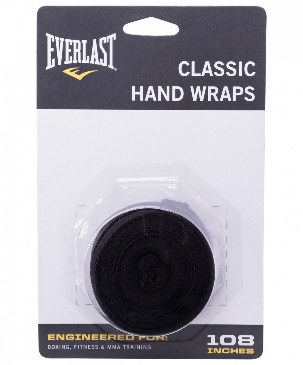 Бинт боксерский Everlast 4463BK, 2.5м, эластик, черный