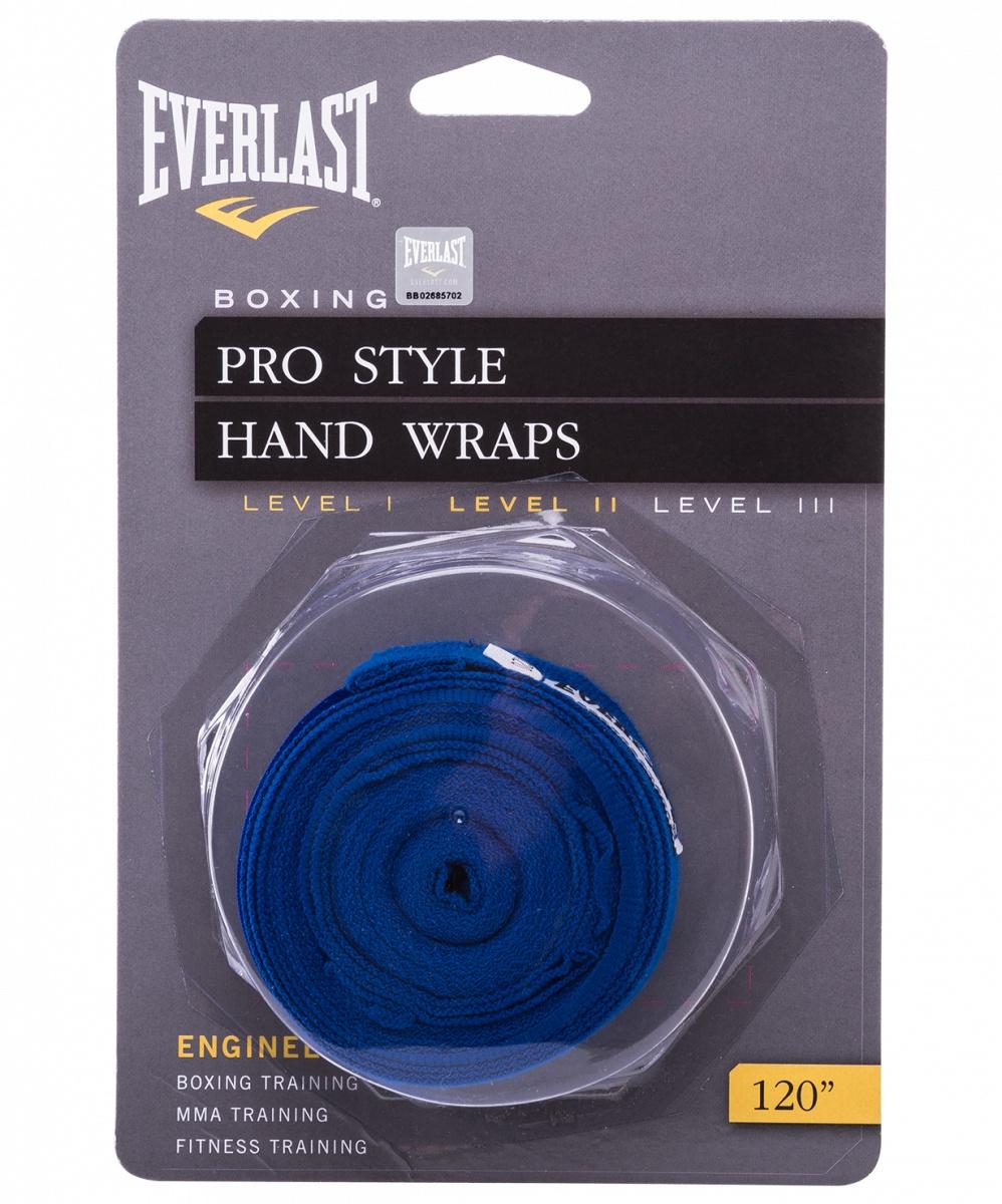 Бинт боксерский Everlast 4463BL, 2.5м, эластик, синий