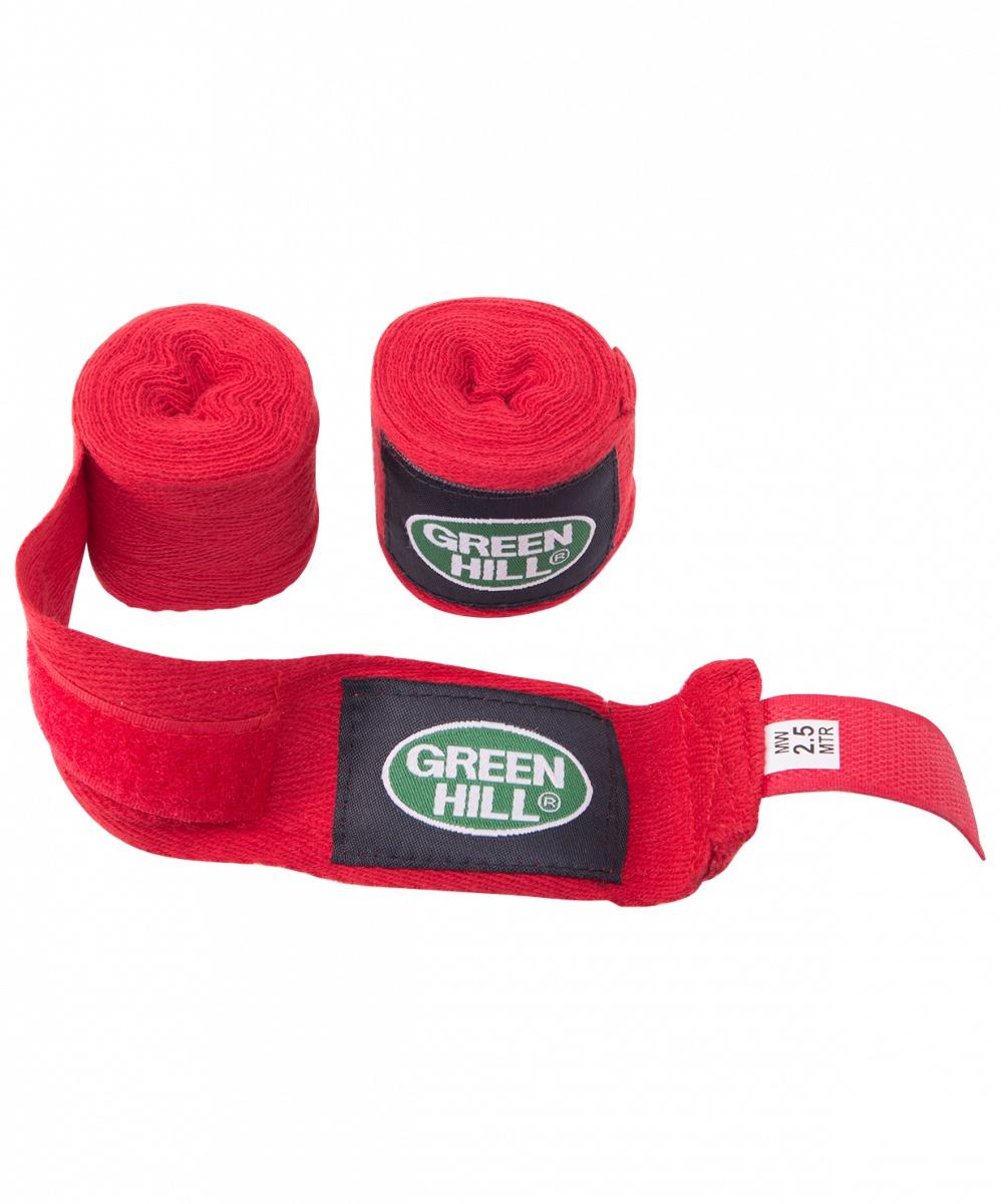 Бинт боксерский Green Hill BC-6235a, 2,5м, х/б, красный