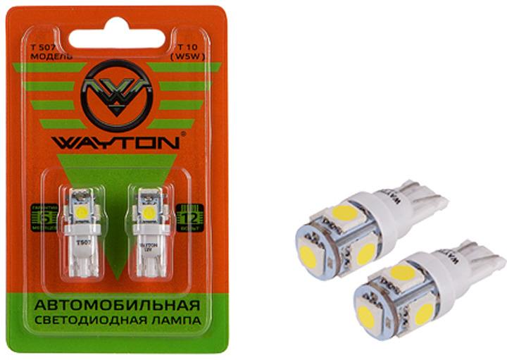 Автолампа Wayton T507, светодиодная, 12V, Т10, W5W, 1109004, 2 шт автолампа xenite cob t10 4000k светодиодная 9 15v т10 w5w 1009439 2 шт