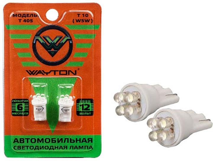 Автолампа Wayton T405, светодиодная, 12V, Т10, W5W, 1109007, 2 шт автолампа xenite cob t10 4000k светодиодная 9 15v т10 w5w 1009439 2 шт