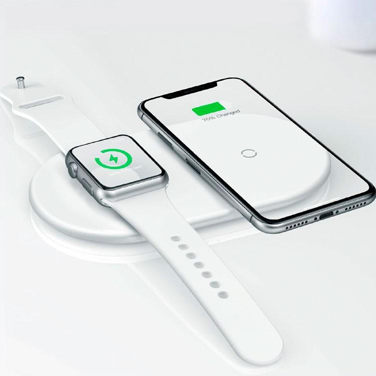 Фото - Беспроводное зарядное устройство Baseus зарядная двойная, белый беспроводное зарядное устройство chocolate wireless charger input dc 5 0v 2 0a 9 0v 1 67a