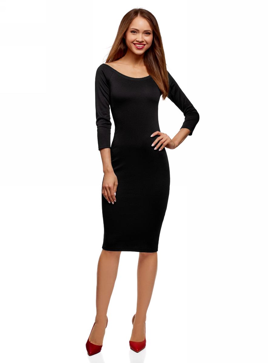 Платье oodji, цвет: черный. 14017001-5B/46944/2900N. Размер XXS (40)14017001-5B/46944/2900NПлатье облегающее с вырезом-лодочкой