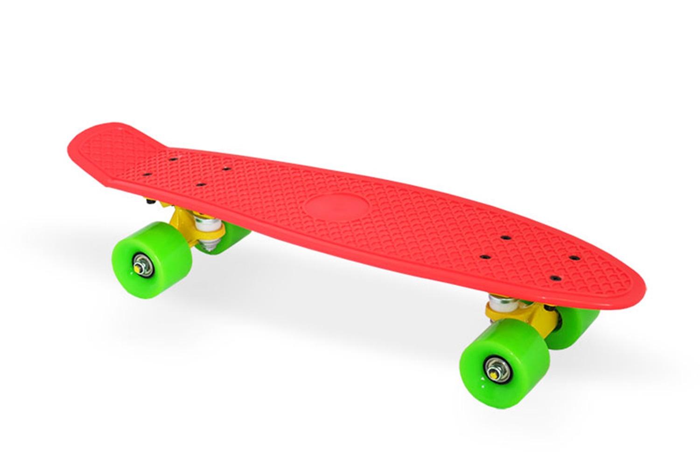 Скейтборд Moove&Fun Скейт пластиковый 22х6, красный, красный