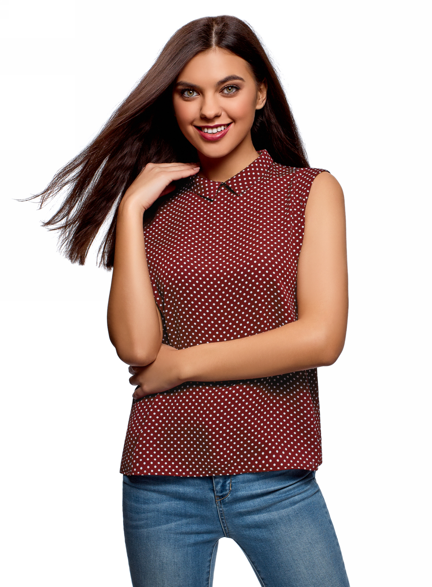 Топ женский oodji Ultra, цвет: бордовый, белый. 14911006B/43414/4910D. Размер 36 (42-170) платье oodji ultra цвет синий 14011015 46384 7500n размер xs 42 170
