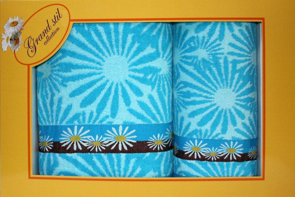 Набор банных полотенец Grand Stil Набор полотенец Гербера48*90+70*135, 14-131ns, синий14-131nsЛицевое и банное полотенца в подарочной коробке. Торговая Марка «Гранд стиль» производит и реализует текстиль только наивысшего качества. Мы предлагаем махровые изделия изготовленные из бамбука хлопка и модала. Дизайн разнообразен - это вышивка, печать, бордюр, аппликация, тканевые вставки, кружево, органза и даже бусины. Наши полотенца прекрасно впитывают влагу, не линяют и не выцветают даже после многократных стирок.