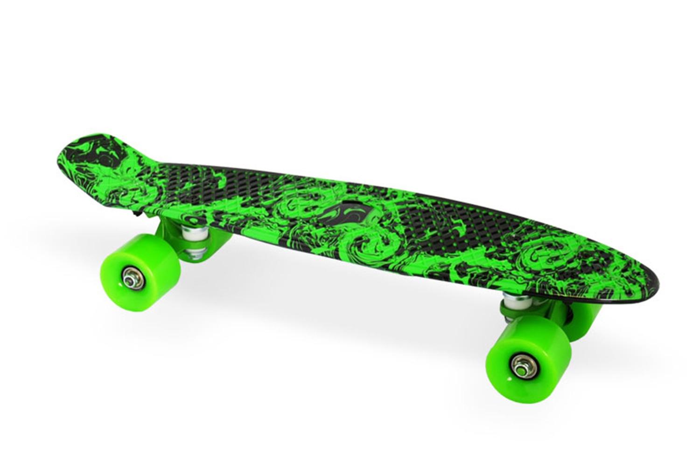 Скейтборд Moove&Fun Скейт пластиковый 22х6-18, зеленый, зеленый скейтборд пластиковый tempish buffy star цвет зеленый