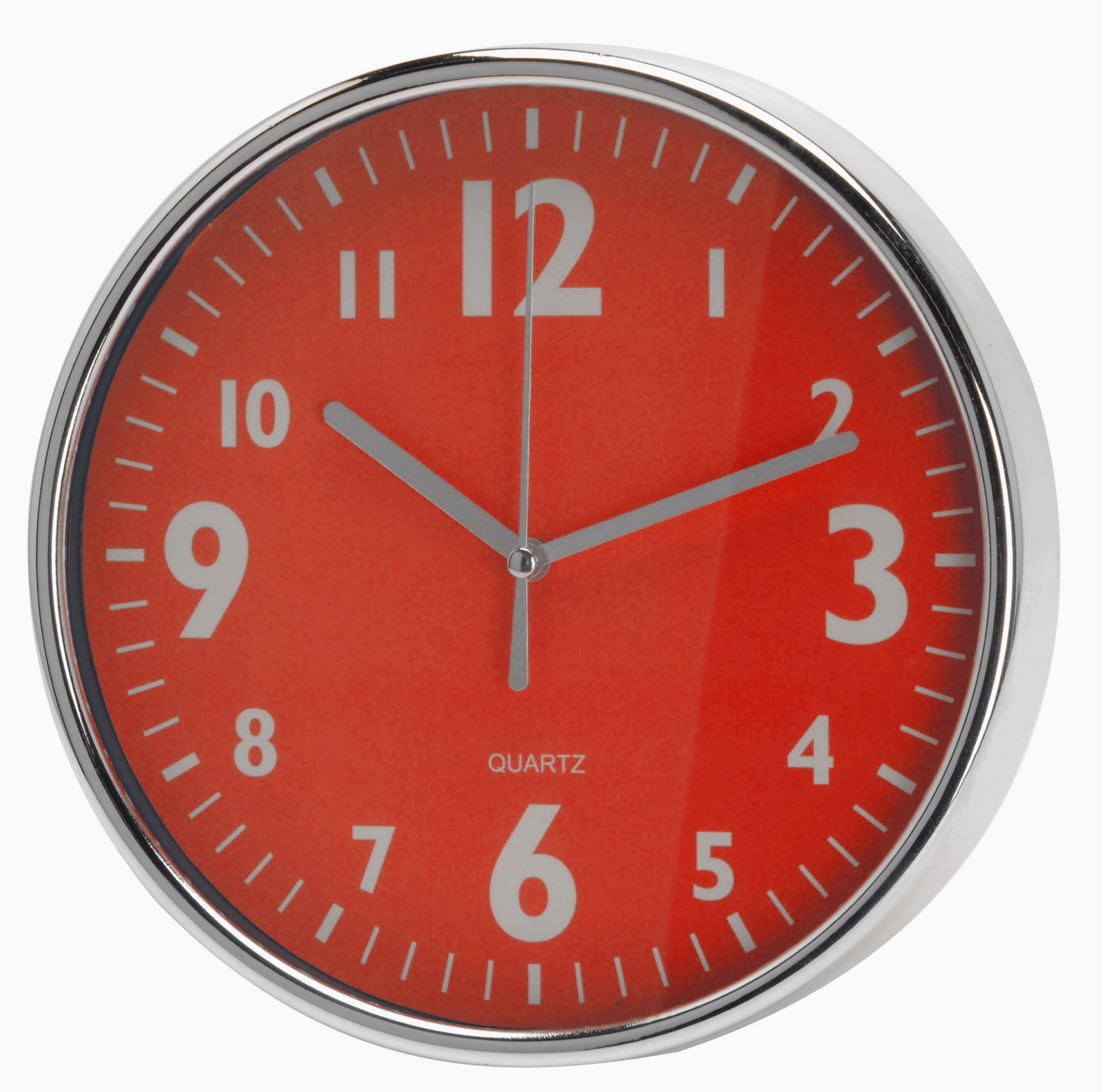 Настенные часы Mitya Veselkov Серебристые цифры на красном