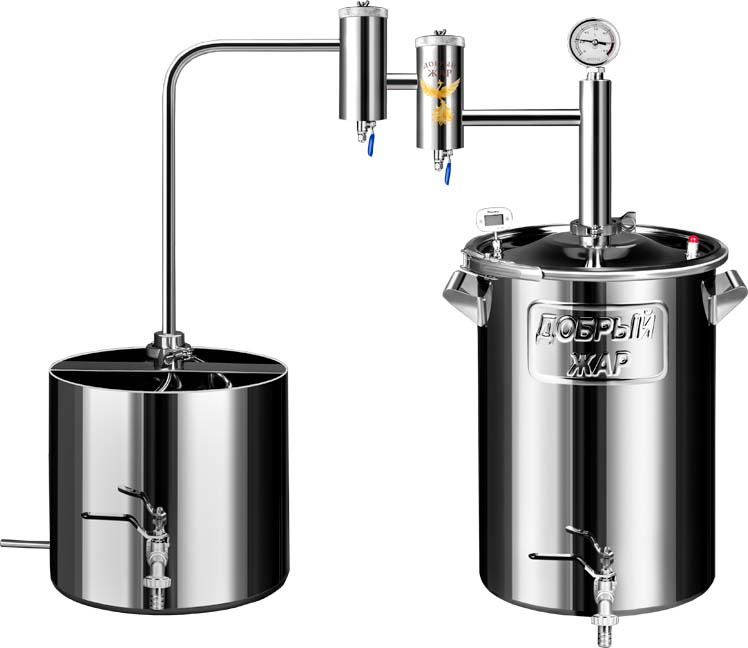 Дистиллятор бытовой Добрый жар Дистиллятор Добрый Жар Дачный с двумя сухопарниками 15 литров дистиллятор непроточный добрый жар дачный 100 литров