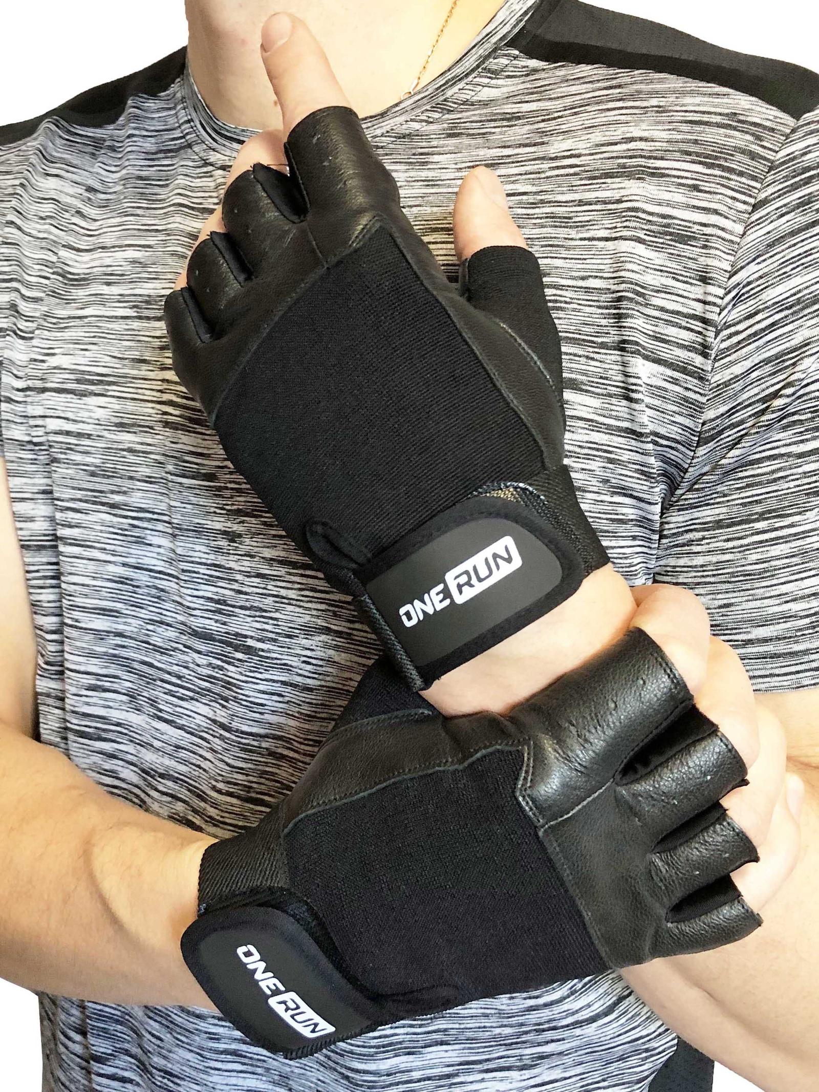 Перчатки для фитнеса OneRun цвет черный, размер L перчатки рабочие кожа спандекс l