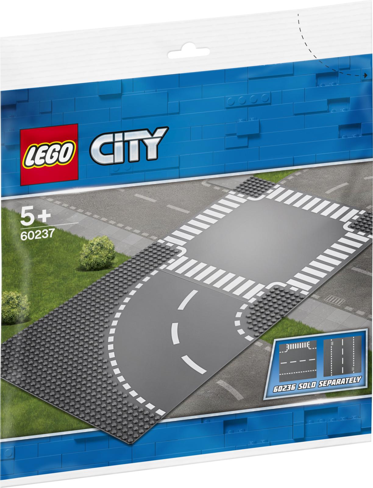 Конструктор LEGO City Supplementary Поворот и перекресток, 6023760237Добавляй в наборы города LEGO City пластины поворотов и перекрестков! Присоединяй секции к уже существующим дорогам, выбери один из своих семейных автомобилей или грузовиков и отправляйся в новое захватывающее путешествие по городу LEGO City!
