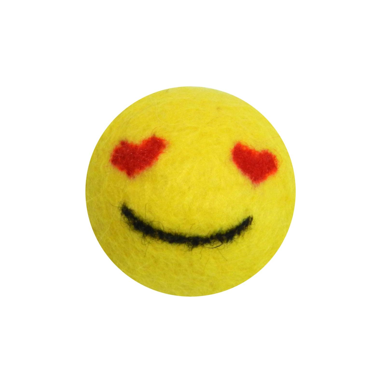 """Игрушка для животных LIVEZOO Мяч из шерсти """"Smile"""" Любовь 4 см"""