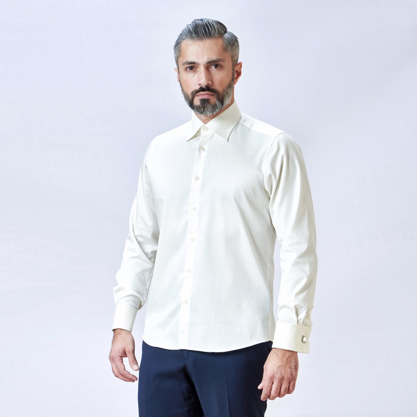 Рубашка Mario Machardi SFELZ401 2XL/M слоновая кость, 56/58-182 размерSFELZ401Мужская приталенная рубашка для деловых мужчин с эластаном под запонку