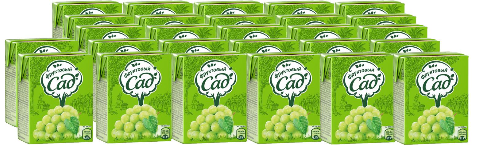 Нектар Фруктовый Сад Яблоко-Виноград, осветленный, 200 мл по 27 шт фруктовый сад яблоко нектар 0 2 л