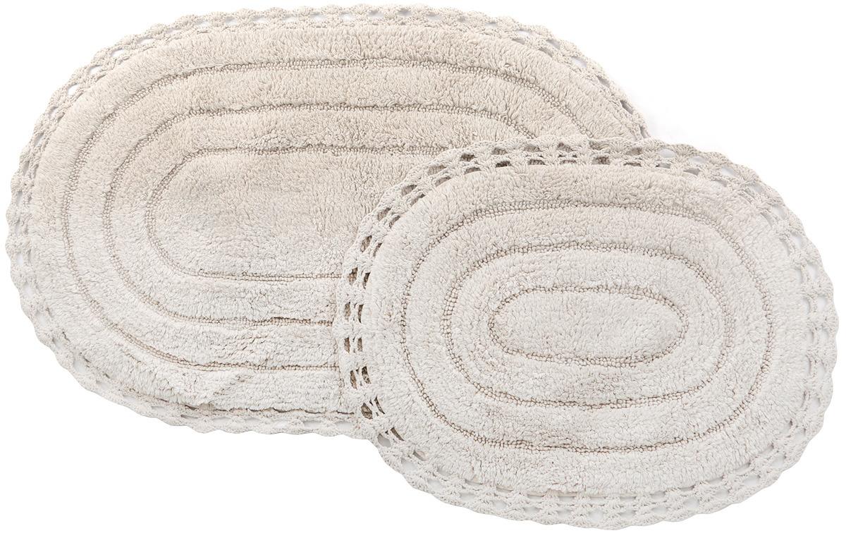 Набор ковриков для ванной Modalin Yana кружевной, 5026, экрю, 60x100 см + 50x70 см набор ковриков для ванной modalin yana 2 предмета мятный