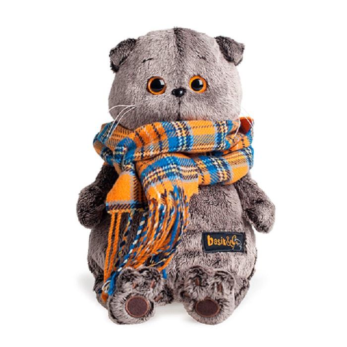 Мягкая игрушка Basik & Ко, Budi Basa, Басик и шарф в клеточку, Ks30-002, серый, оранжевый, 30 см басик и ко мягкая игрушка басик во фраке 30 см