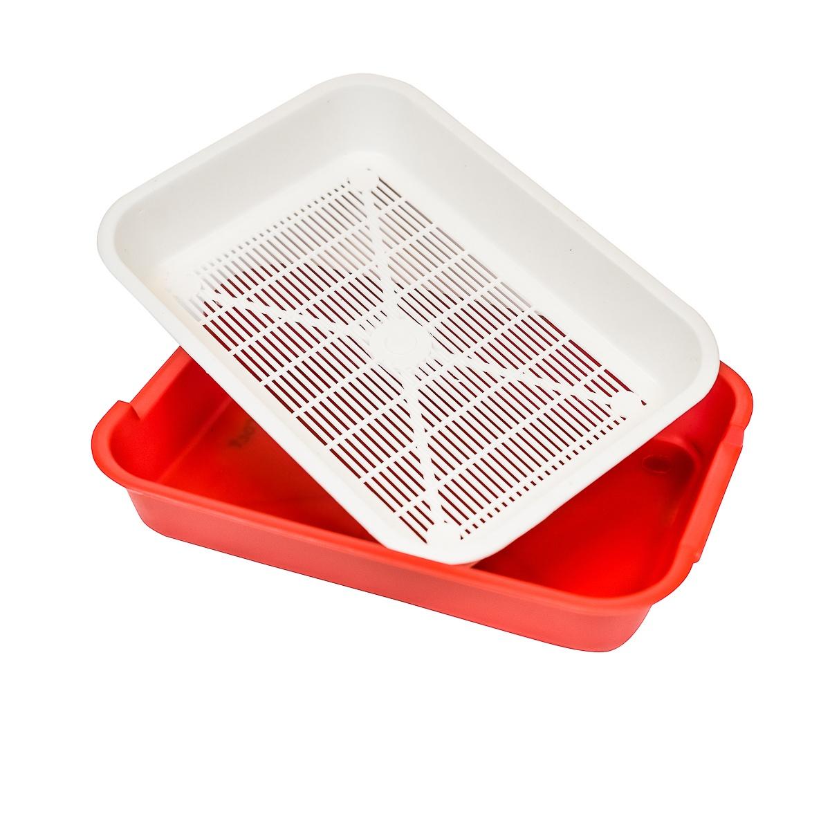 Лоток для животных из антибактериального экопластика КисПис ГО со съемной решеткой, 420*310*80 (красный)-13356