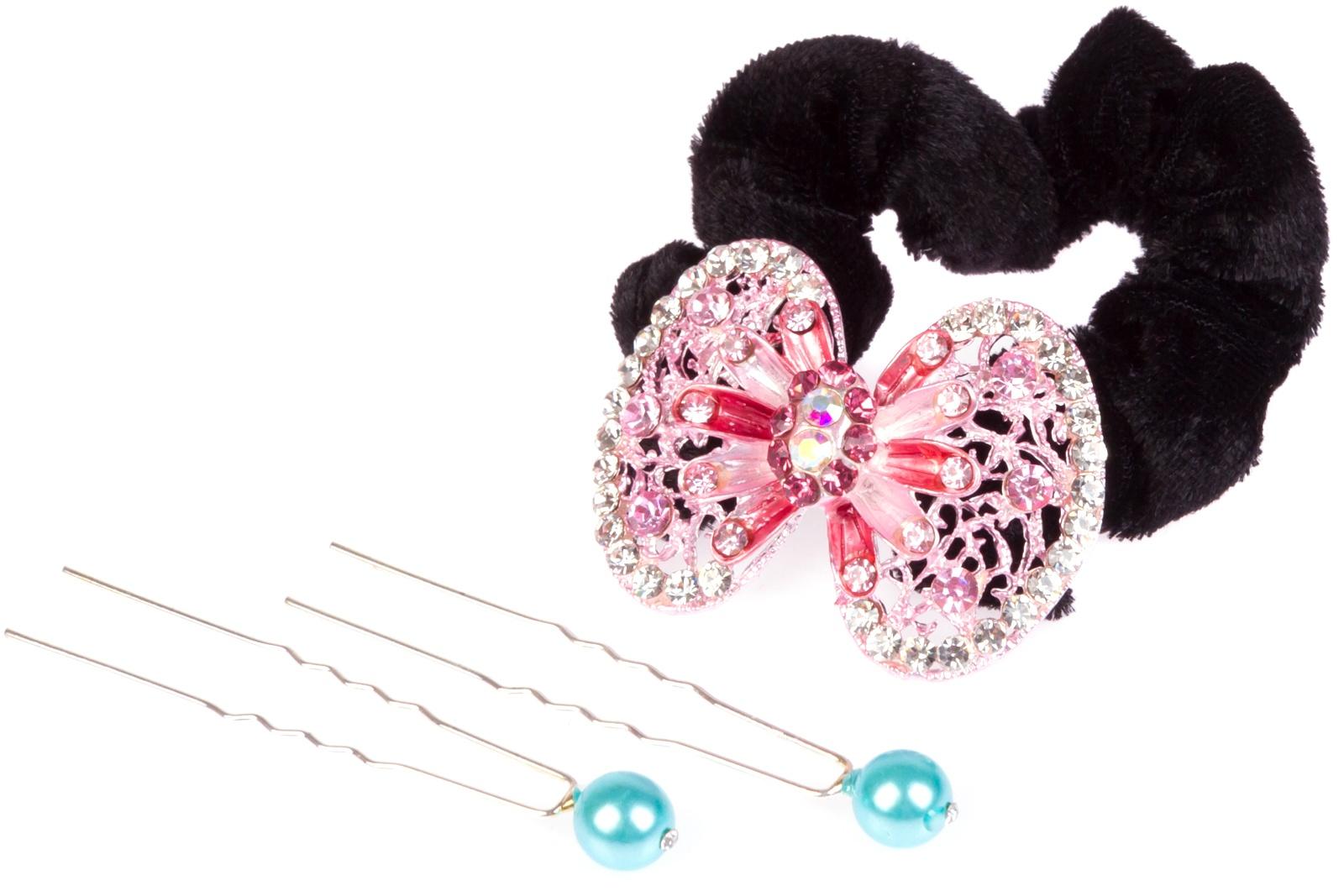 Набор аксессуаров для волос Нехочуха невидимка для волос funny bunny розовые цветы 2 шт
