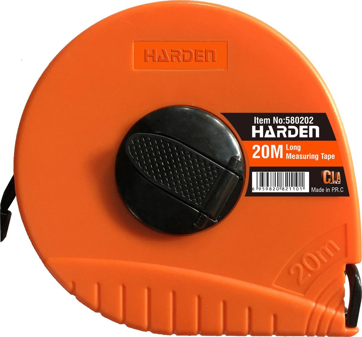 Рулетка геодезическая Harden, 580202, с фиберглассовой лентой и закрытым корпусом, 20 м рулетка harden 580036