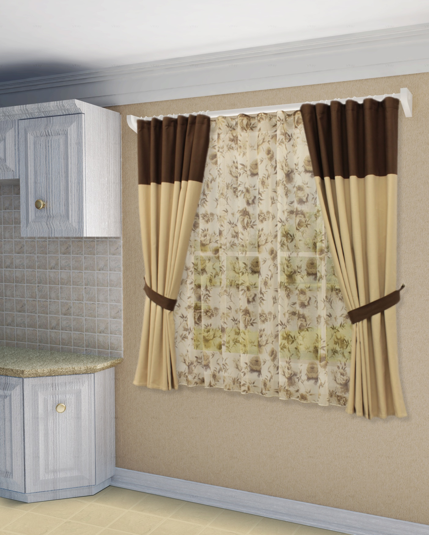 шторы на кухню в коричнево бежевых тонах фото шоке