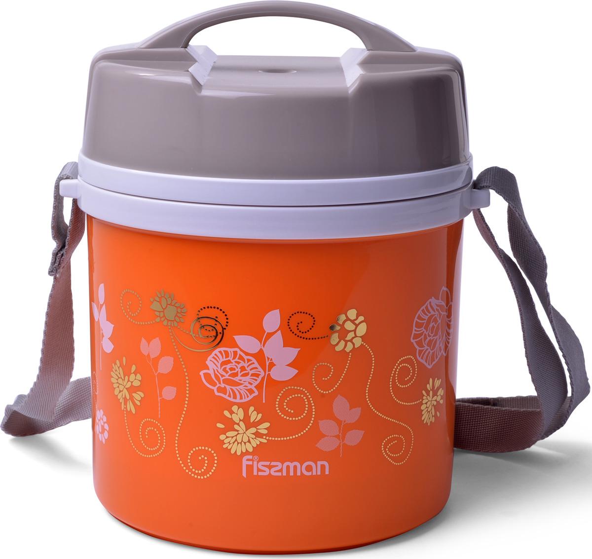 Термос Fissman, 7940, с широким горлом, 2 контейнера, ложка, оранжевый, 1,4 л